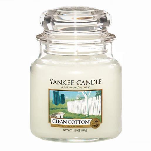 Svíčka YANKEE CANDLE 411g Clean cotton