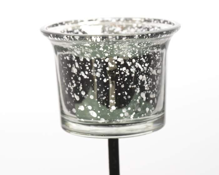 Svícen zápich na čajovou svíčku zápich sklo/kov čirý stříbrný