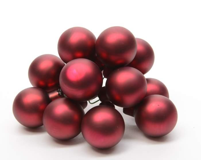 Koule sklo na drátu svazek 12ks průměr 2,5cm tm. červená