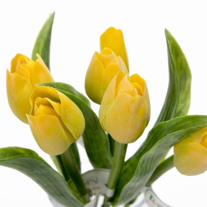 Tulipán řezaný umělý 40cm žlutý