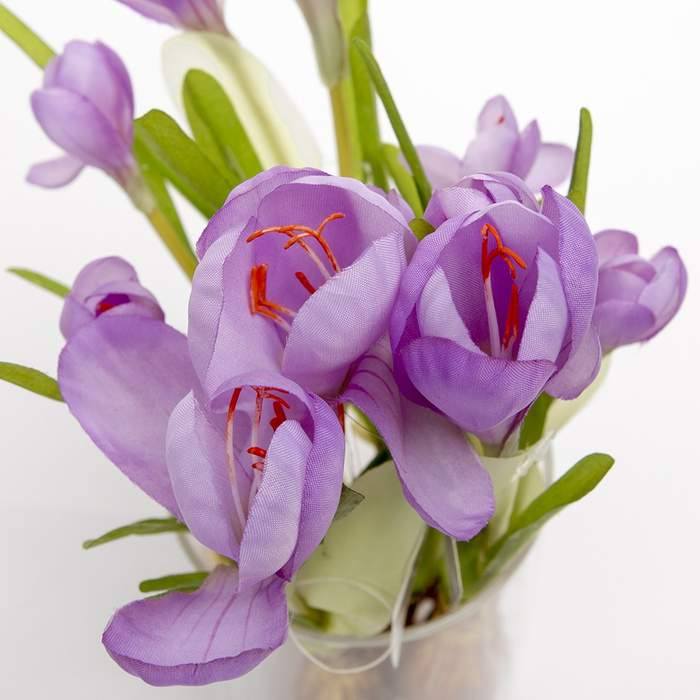 Krokus s cibulí umělý 33cm 3 květy světle fialový