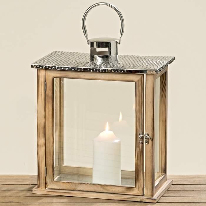 Lucerna hranatá ODENSE dřevo, kov a sklo 38cm