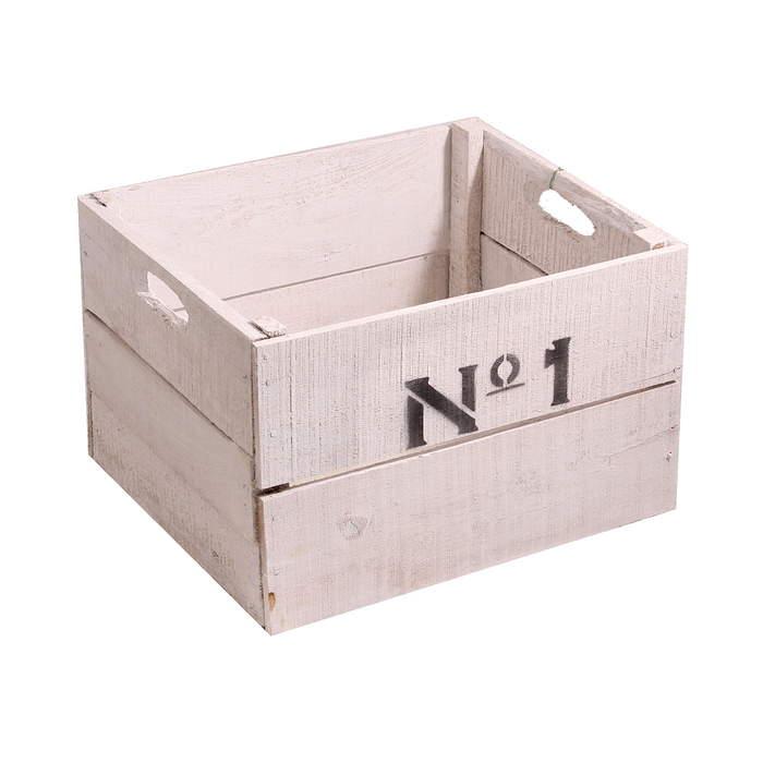 Bedna dřevěná No.1 35 cm bílá
