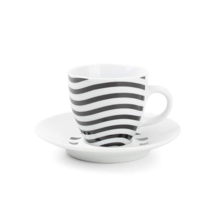 E-shop Šálek a podšálek porcelánový mocca dekor vlny 100ml 4ks