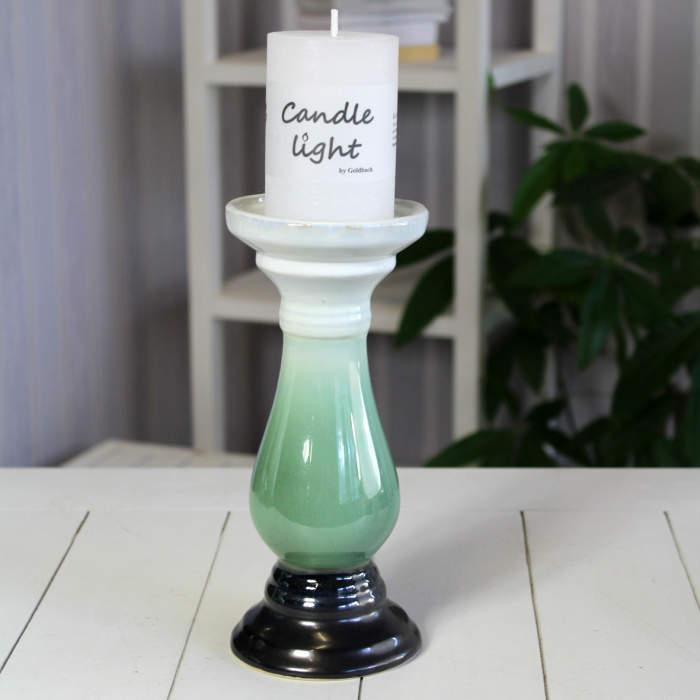 Svícen na noze keramika šedo-zelený 25cm