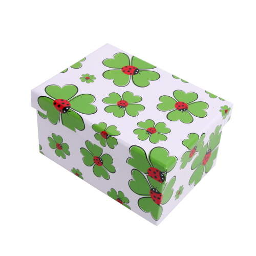 Krabice dárková papír čtyřlístek a berušky 26cm