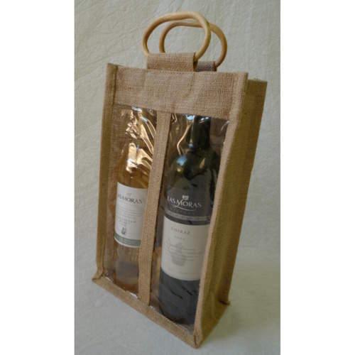 Taška dárková na 2 vína juta 34cm
