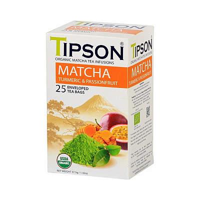 Čaj TIPSON BIO Matcha Turmeric & Passion Fruit 25x1,5g