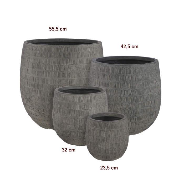 Obal kulatý SCOTIA škrábaný keramika černá 32cm