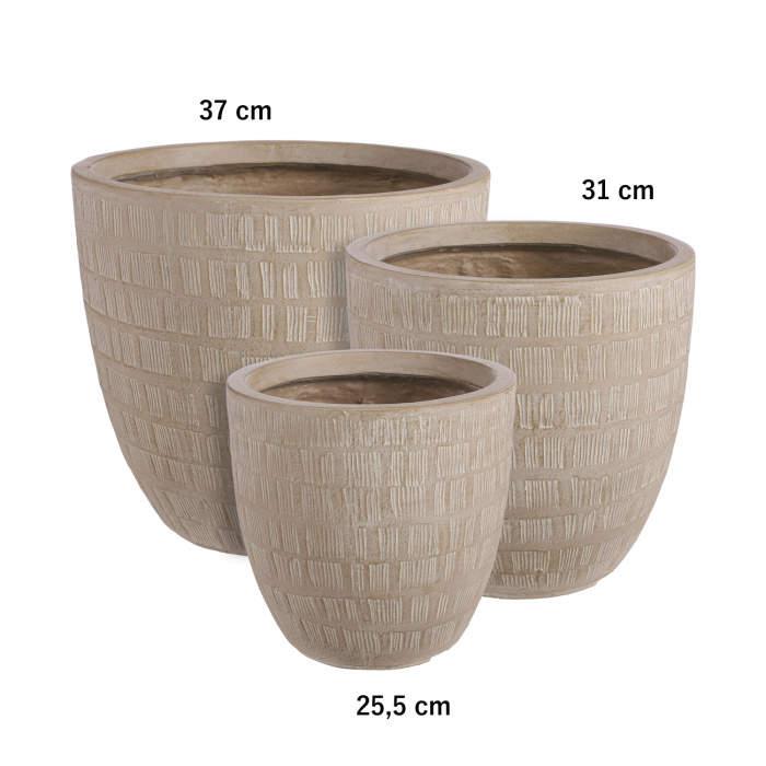 E-shop Obal kulatý kónický SCOTIA škrábaný keramika krémová 25,5cm