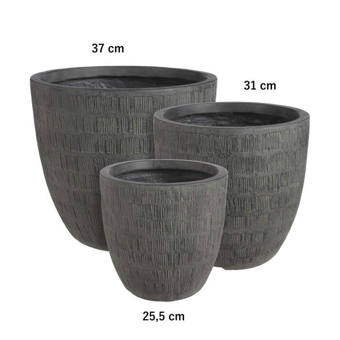 Obal kulatý kónický SCOTIA škrábaný keramika černá 31cm