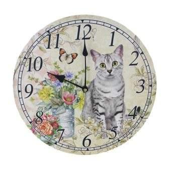 Hodiny nástěnné kulaté dekor kočka dřevo 33cm