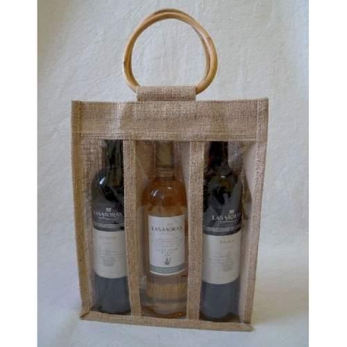 Taška dárková na 3 vína juta 34cm