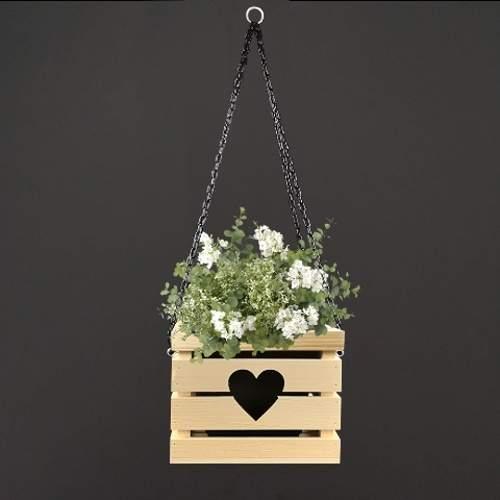 E-shop Obal hranatý závěsný dekor srdce dřevo přírodní 27x27cm
